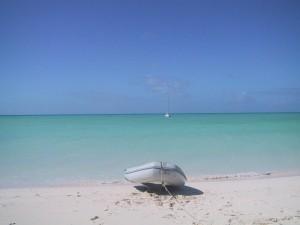 Capt Mac's Sailing dinghy on the shore